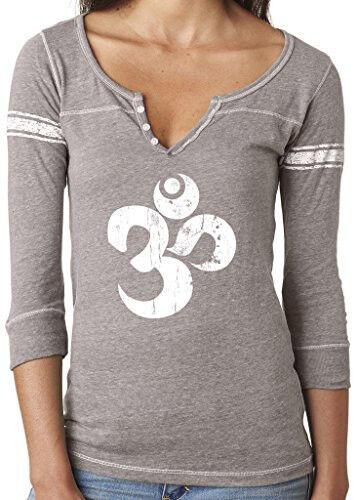 Ladies Distressed OM Henley Tee Shirt