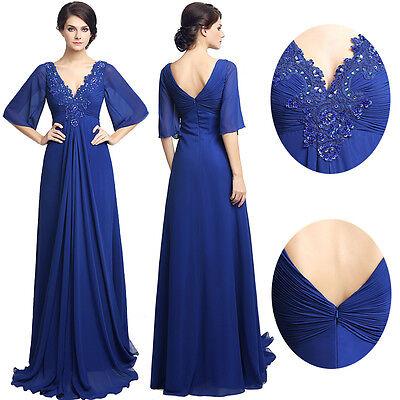 Chiffon Half Sleeve Elegant Mother Of The Bride Groom Formal Evening Prom Dress