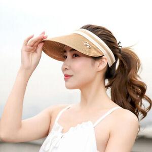 Women-Ladies-Summer-Sun-Visor-Beach-Hat-Long-Brim-Straw-Tennis-Cap-GO9