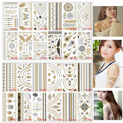24 Sheet Temporary Tattoo Metallic Gold Silver Black Body Tattoos Inspired