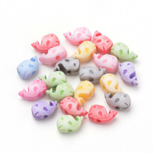 FREE SAME DAY P/&P 200 MIXED PASTEL COLOUR WHALE//DOLPHIN BEADS  JEWELLERY CRAFT