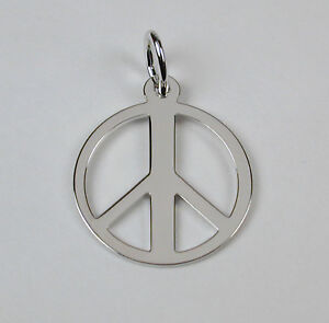 Sterling-Silver-Peace-Symbol-Charm-w-Lobster-Claw-Clasp-Free-U-S-Shipping