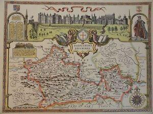 Vecchia copia di John velocità mappa del Berkshire WINDSOR Castle 1610