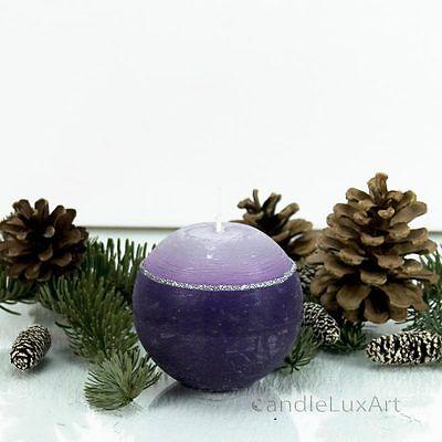 Kugelkerze Risti lila/weiß 8cm Kerzen Tischdeko Adventskerzen Weihnachten Deko
