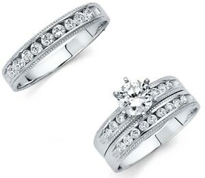 14k-Solid-White-Gold-Fancy-Wedding-Band-Bridal-Solitaire-Engagement-Ring-Set
