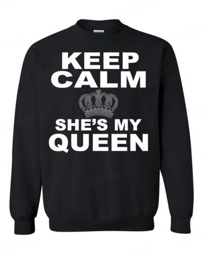 Keep Calm She's My Queen CREWNECK Couples Matching Valentines Anni Cute sweater