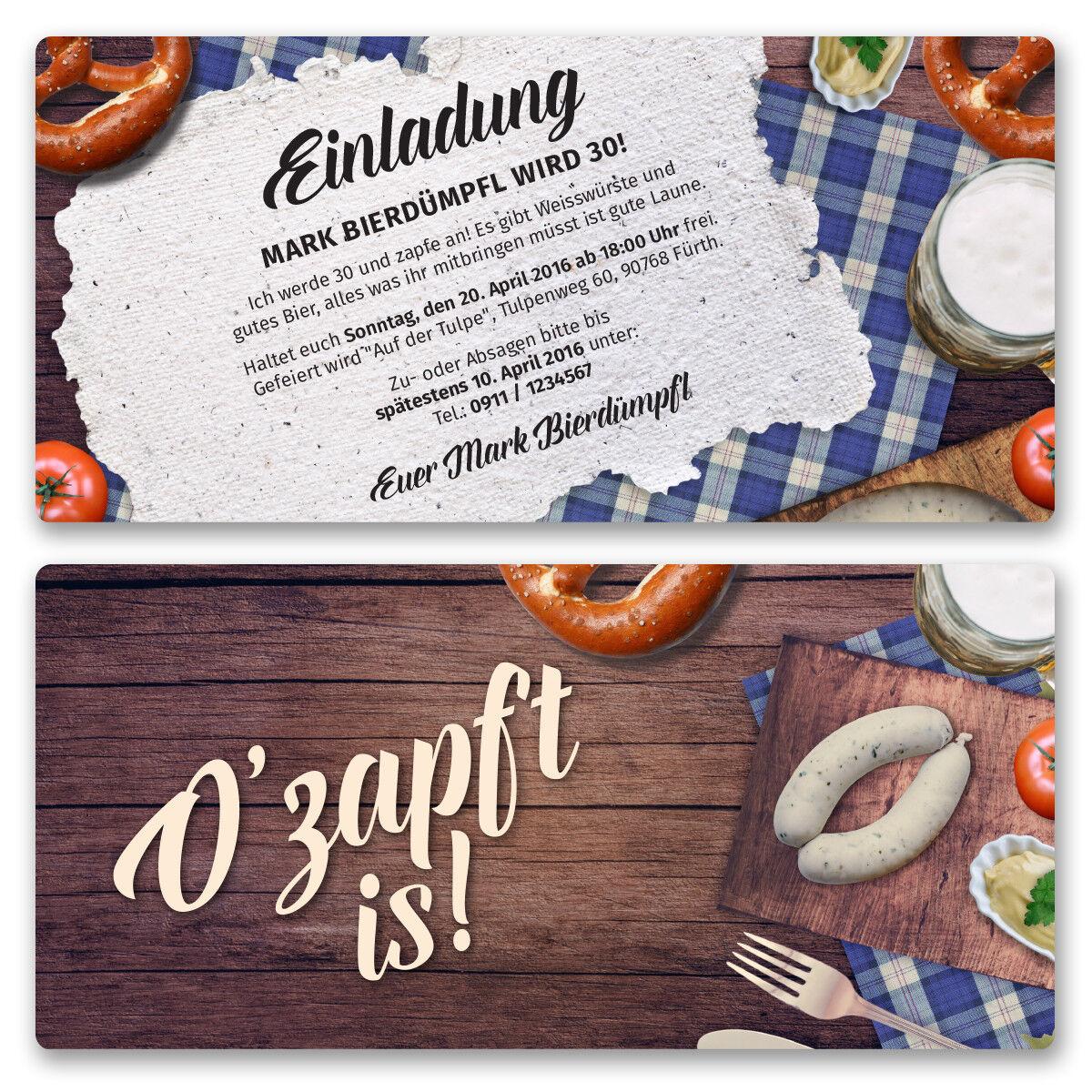Einladungskarten zum Geburtstag Oktoberfest Bier Frühschoppen Einladung | Um Sowohl Die Qualität Der Zähigkeit Und Härte  | Deutschland Online Shop