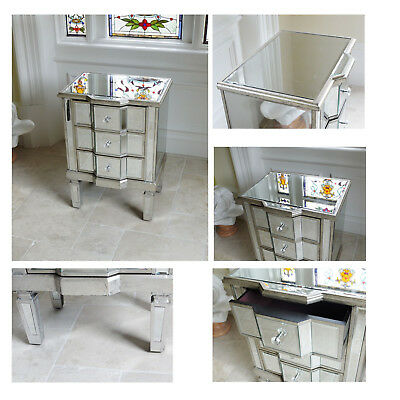 Venetian 3 Drawer Mirrored Bedside Chest Small Side End Lamp Phone Table Unit Ebay