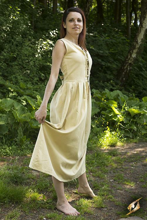 Casual Sleeveless Peasant Dress in Heavy Cotton for Costume, Re-enactment & LARP