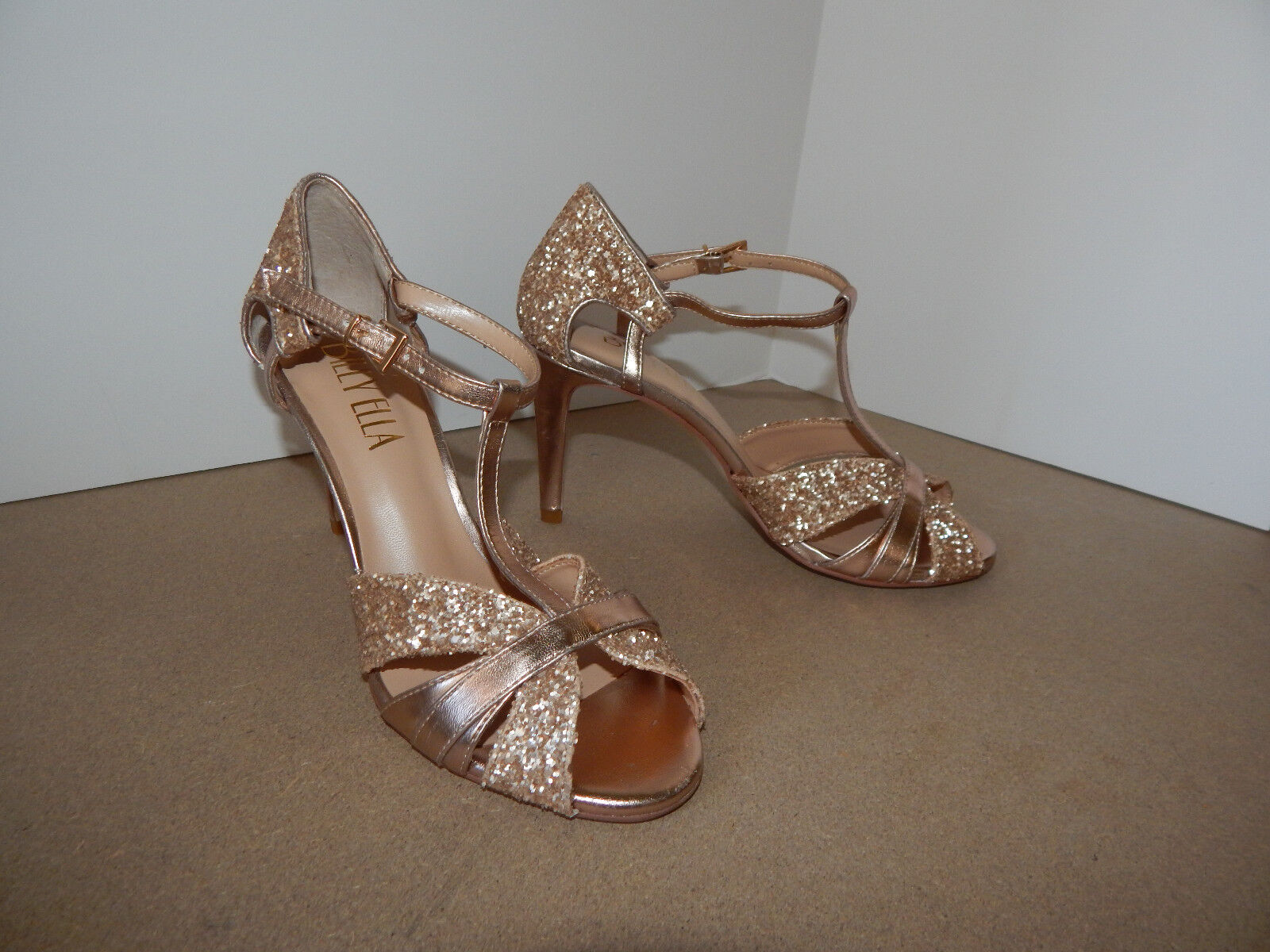 BHLDN 9 TSTRAPS SHIMMER GLITTER LUCIA NUDE blueSH VEGAN WEDDING BRIDAL  160 EUC