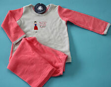 PETIT BATEAU Mädchen Schlafanzug, Pyjama, grau/rosa, Frottee und Nicky, Gr.102