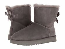 Women's Shoes UGG MINI BAILEY BOW II Boots 1016501 GREY *New*