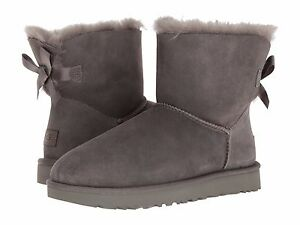 d33c0ed0872 Details about Women's Shoes UGG MINI BAILEY BOW II Boots 1016501 GREY *New*