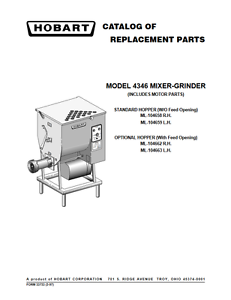 Details about Hobart PDF Catalog of Replacement Parts for 4346 Mixer Grinder