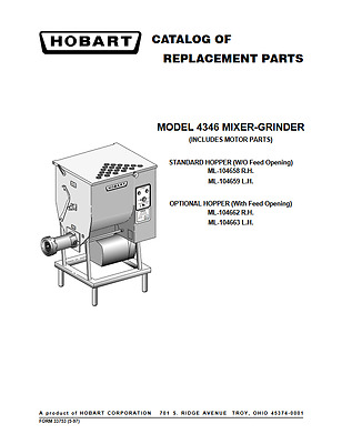 Hobart PDF Catalog Of Replacement Parts For 4346 Mixer Grinder EBay