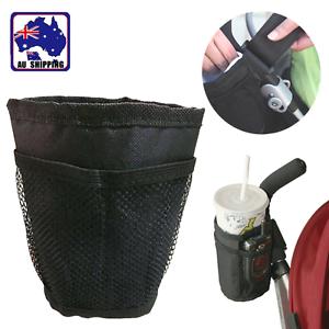 Baby Stroller Pram Cup Holder Universal Water Bottle Drink Bag Black BMOB60505