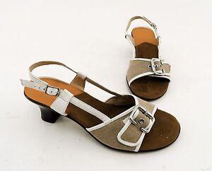 Sandalen-Scholl-Trichterabsatz-Textil-braun-Gr-41