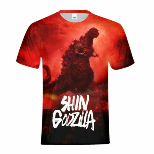 Godzilla KIDS ALL-over Imprimé T-Shirt Enfants Cool à Manches Courtes Garçon Cartoon Tops