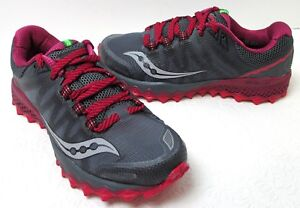 c57e6188e846 Women s Saucony Peregrine 7 Trail Grey Berry Running Sneakers