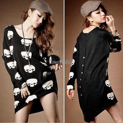 Women Punk Rock Skull Pattern Maternity Tops Long Sleeve Blouse Mini Dress Shirt
