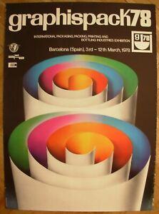 Spanish Original POSTER Graphispack 1978 Barcelona Exhibition packing printing