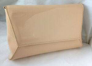 bad02a87e NEW BEIGE NUDE FAUX PATENT LEATHER EVENING DAY CLUTCH BAG WEDDING ...