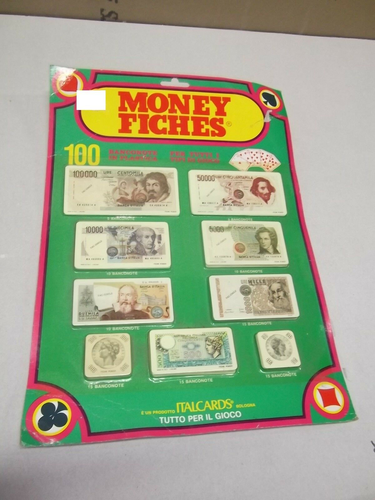 ITALCARDS MONEY MONEY MONEY FICHES AUS SPIEL IN LIVRE 100 BANKNOTEN PLASTIFIZIERT VINTAGE 946f8f