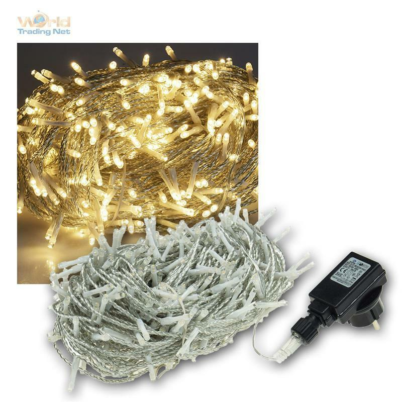 LED LED LED Ghirlanda di luci per esterno & interno 400 LED bianco caldo 230v ip44 esterno Catena di luci 66c4c8