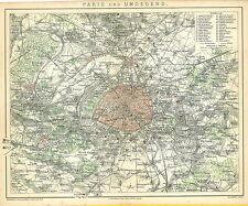 Historische alte Stadtkarte 1885: Paris und Umgegend. Stadtplan Frankreich (B13)