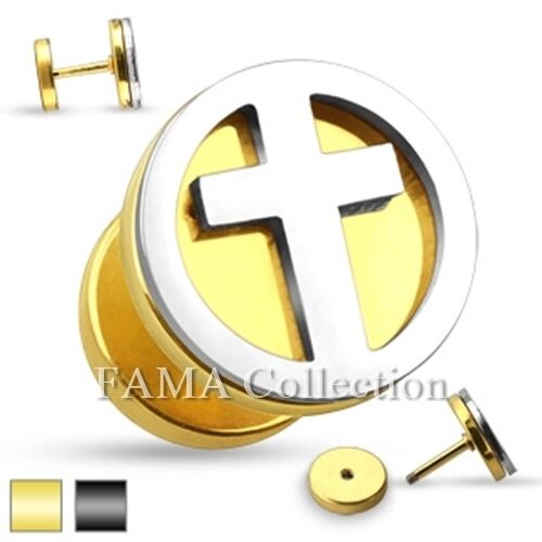 FAMA Cross Cut Out Two Tone Fake Plug 316L Stainless Steel Stud Earrings