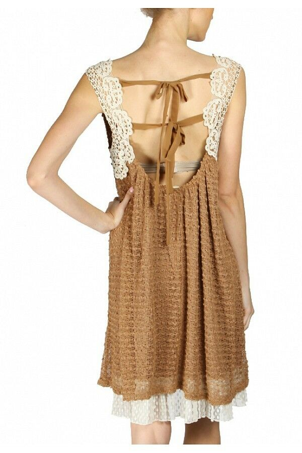 A'reve Areve Dress ADA3063 Cocoa CUTE  SALE   Bohemian Look