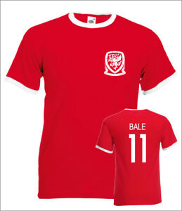 reputable site ff15d 898ed Details about Gareth Bale Wales No.11 Mens Football Ringer T-Shirt