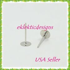 Dull Silver Plated Half Ball Stud Earring Post DIY Findings 4mm,6mm,8mm R0065