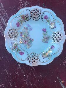 Antique-Dresden-Porcelain-China-Bowl-Flower-Basket-Reticulated-Gold-Guild