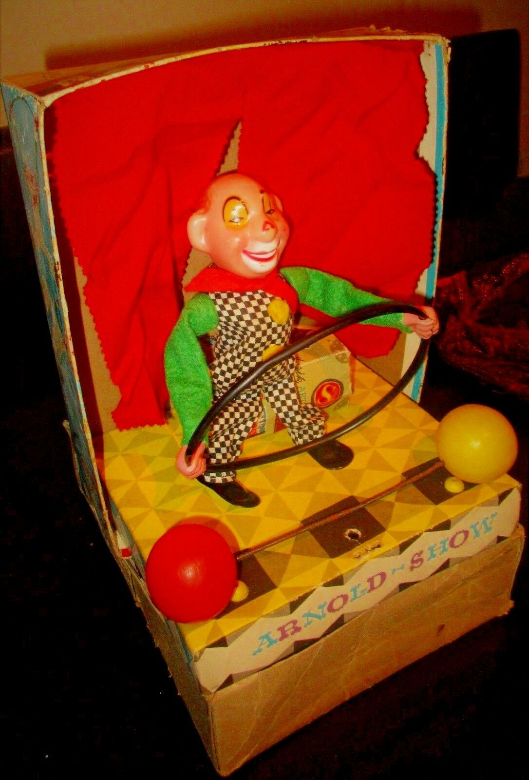 UNIQUE VINTAGE ARNOLD SHOWS - CIRCUS CLOWN CELLULOID CELLULOID CELLULOID W GERMANY MIB 8f382a