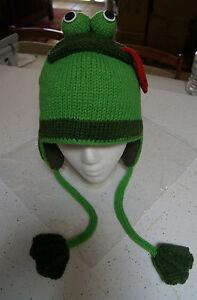FROG HAT knit ADULT animal ski cap costume LINED mens womens ... e495e3d681