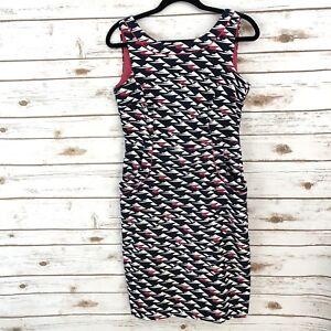 London-Times-Navy-Blue-White-Pink-Geometric-Sleeveless-Pocket-Career-Dress-Sz-6