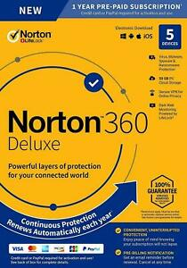 Norton 360 Deluxe 2021 5 Devices 1 Year + VPN - Internet Security UK/EU- Emailed