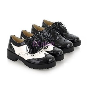 Free-Womens-Girl-Low-Block-Heel-Brogue-Retro-Vintage-Lace-up-Oxfords-Shoes-34-43