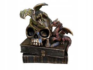2 Dragones cráneo en libros Joyero Baratija Regalo Estatua Bronce Veronese Arte