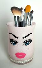 Glitter makeup holder. pink. lipstick. eyes. face. Vanity decor