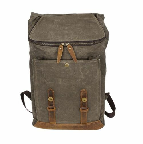 Vintage Men/'s Waterproof Canvas+Real Leather Backpack Sport Travel Bag Book Bag