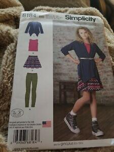 Simplicity 1025 Girl/'s Plus Knit Top Skirt Leggings Sewing Pattern 8 1//2-16 1//2