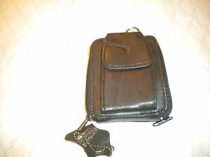 BLACK Leather Credit Card Holder Wallet WITH ZIPPER AROUND AND CELL PHONEHOLDER