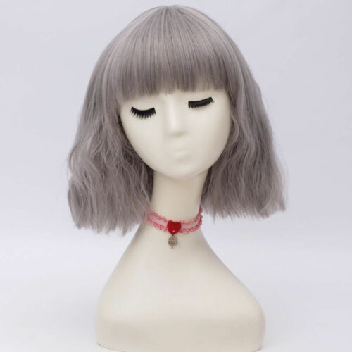 Cap Lolita Grau Curly Basic 30cm Kurzhaar Fasching Haar Cosplay Manga Perücken