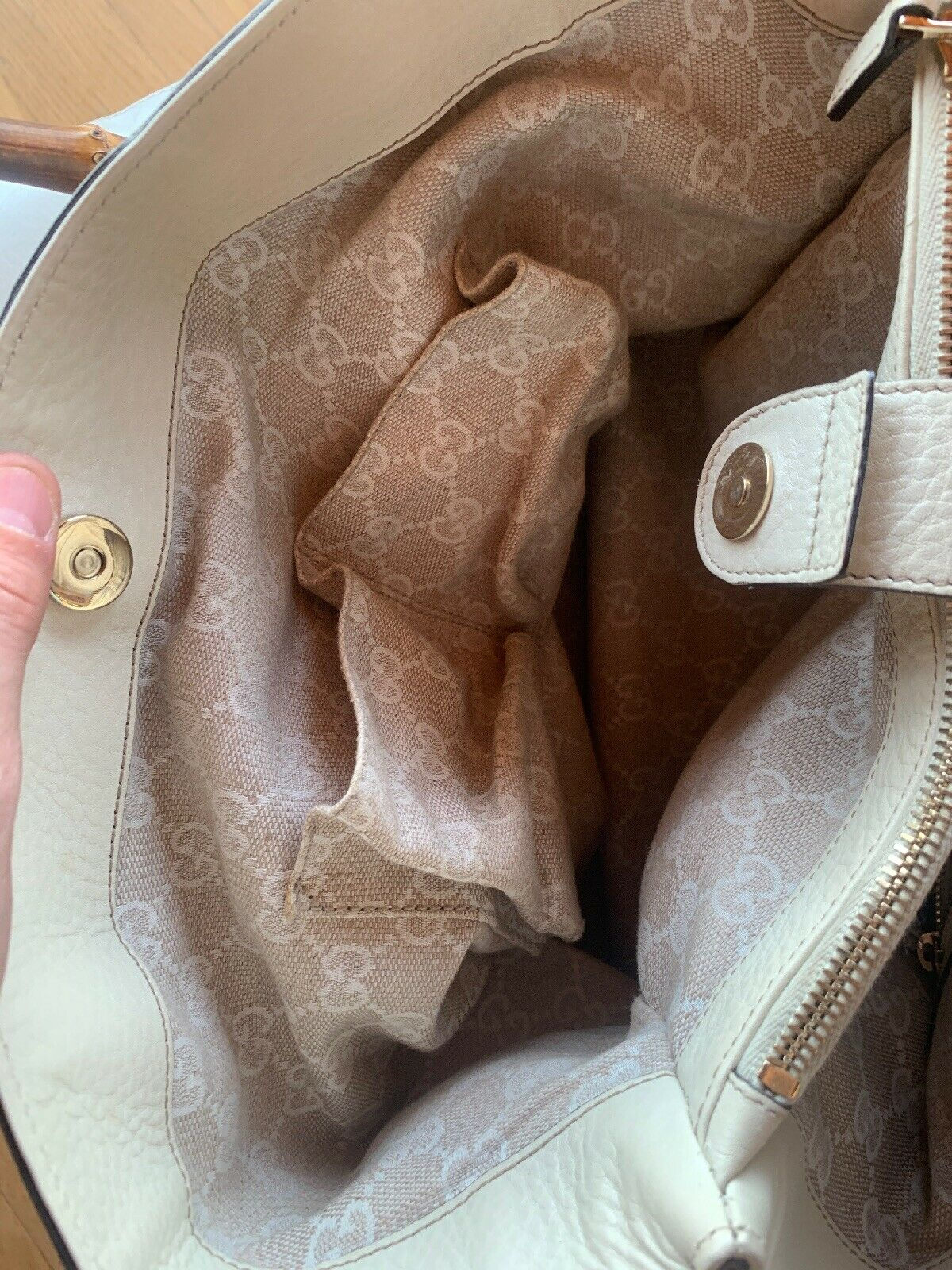 Gucci Cream Pebbled Leather Bamboo Handle Princes… - image 7