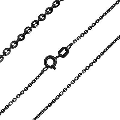 16, 18, 20, 24 Inch Double Accent 1.4mm Sterling Silver Italian Necklace Black Rhodium Plated D//C Edge Rolo Chain