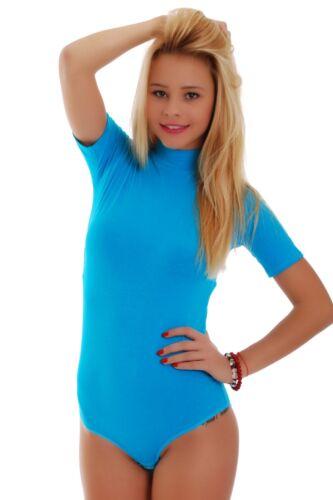 Women Cotton Bodysuit Turtle mock Neck Short Sleeve Bikini S-3XL 1435 Leotard EU