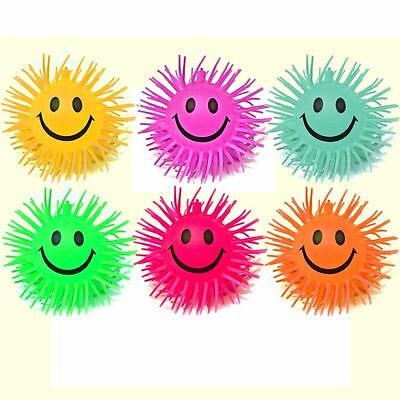 "6 Smiley Stretchy Spiky 4"" Ball Sensory Toys - Fiddle Fidget Stress Autism Adhd"