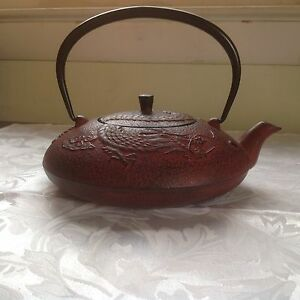 Dark red dragon design cast iron oriental teapot w strainer lid 1 2 liter ebay - Elephant cast iron teapot ...